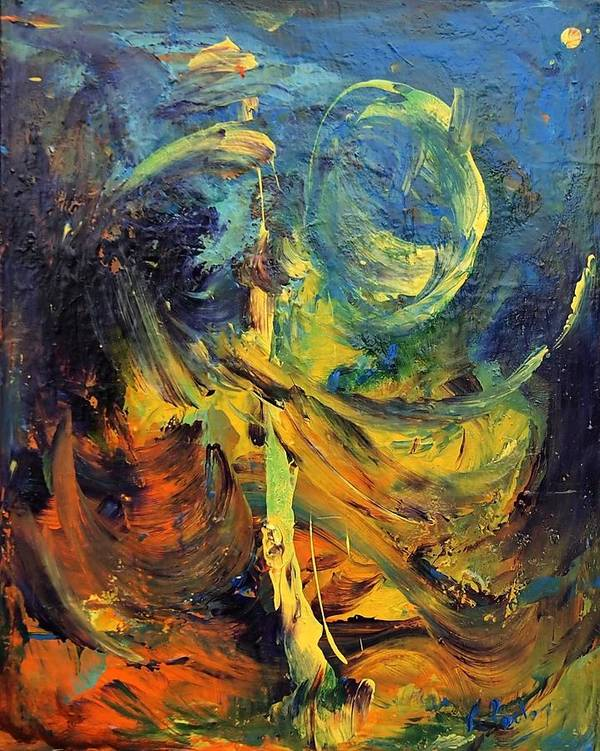 Venezuela Paintings Poster featuring the painting Momentum by Marina R Burch