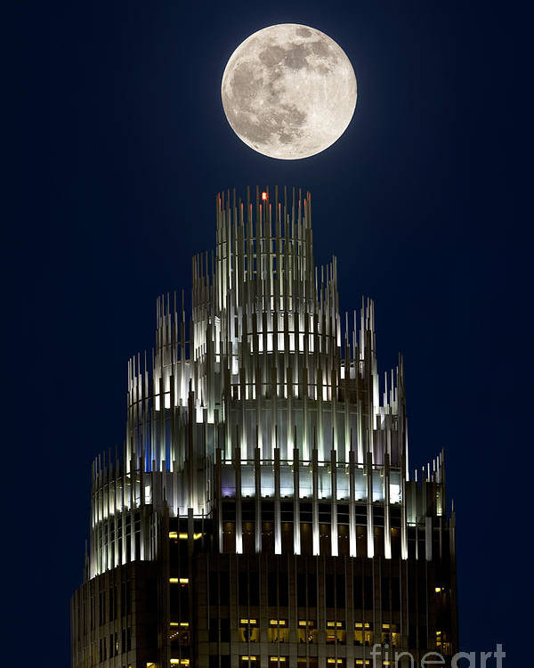Charlotte Poster featuring the photograph Moon Over Bank Of America by Patrick Schneider