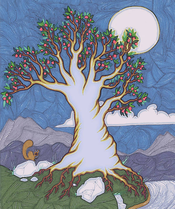 Trees Poster featuring the painting Moon River by James Davidson