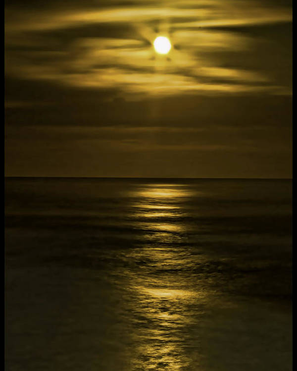 Pacific Ocean Poster featuring the photograph Moonlit Pacific by Dale Stillman