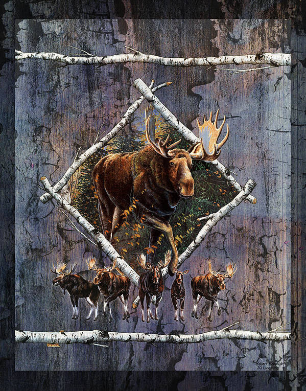 Wildlife Poster featuring the painting Moose Lodge by JQ Licensing