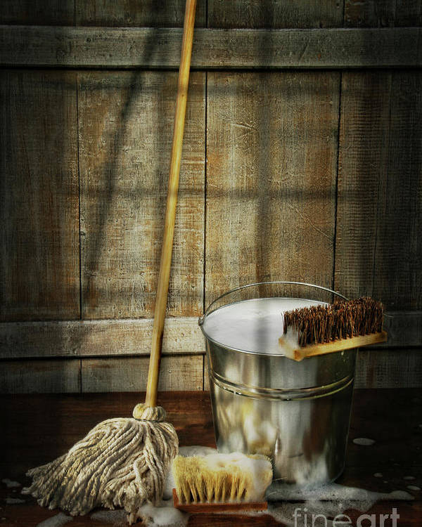 Antique Poster featuring the photograph Mop With Bucket And Scrub Brushes by Sandra Cunningham