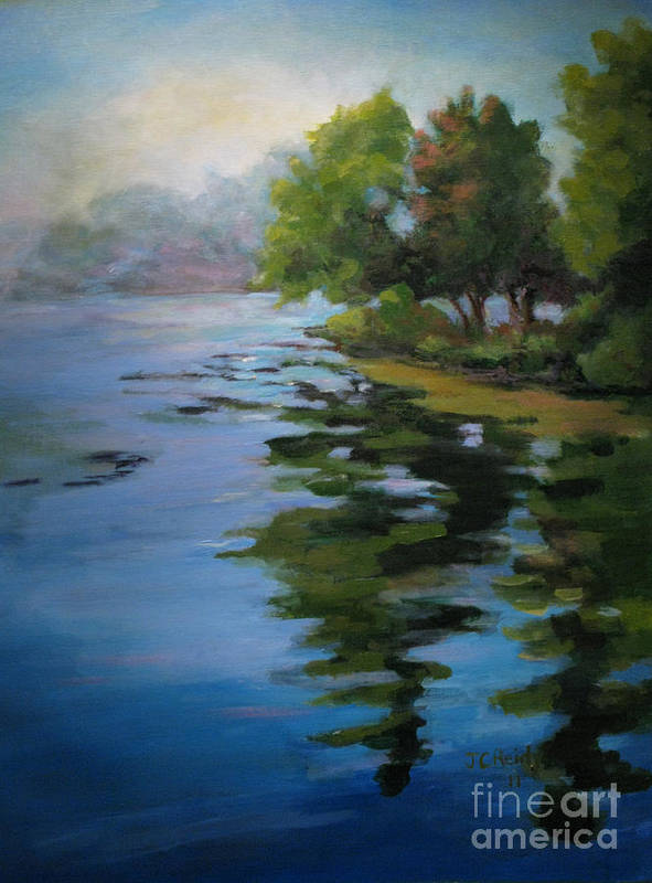 Seascape Poster featuring the painting Morning Over Fowler Lake by Judith Reidy