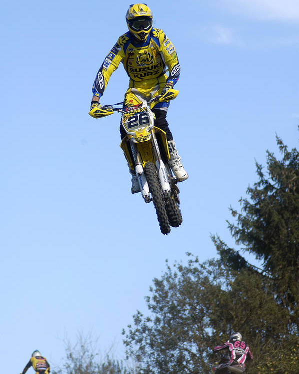 Motocross Poster featuring the photograph Motocross Rider Jumping High by Matthias Hauser