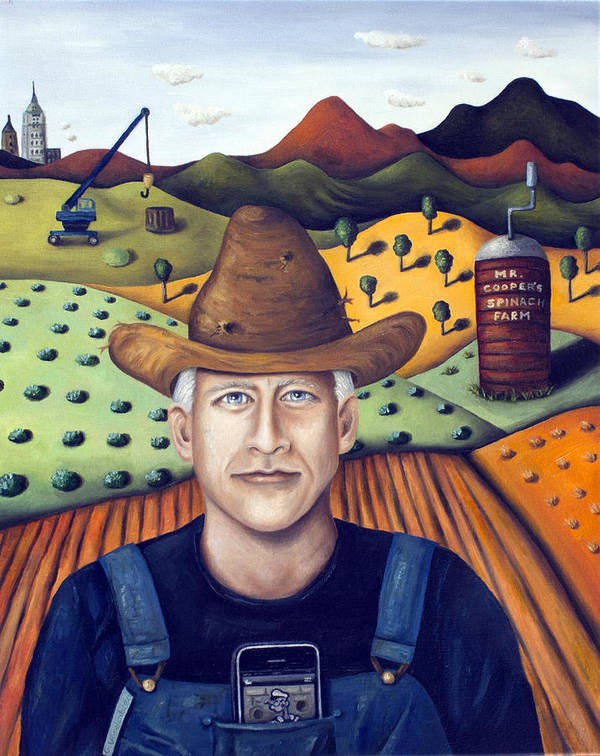 Anderson Cooper Poster featuring the painting Mr Cooper's Spinach Farm by Leah Saulnier The Painting Maniac