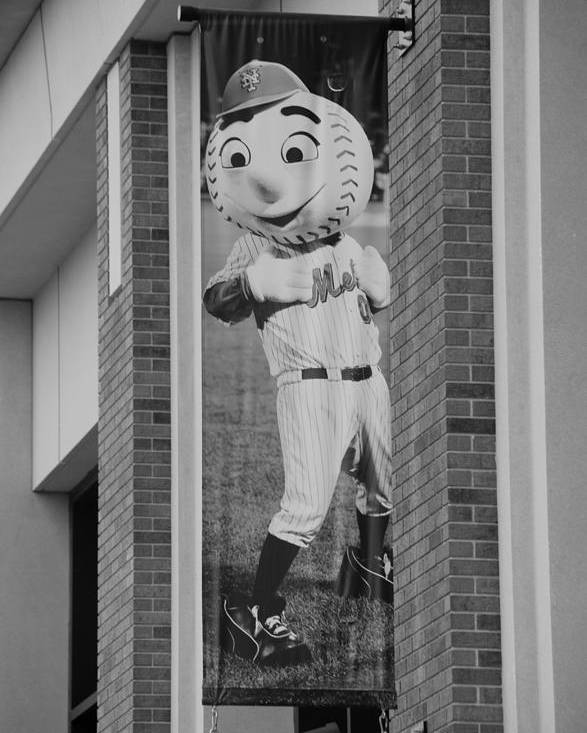 Shea Stadium Poster featuring the photograph Mr Met In Black And White by Rob Hans