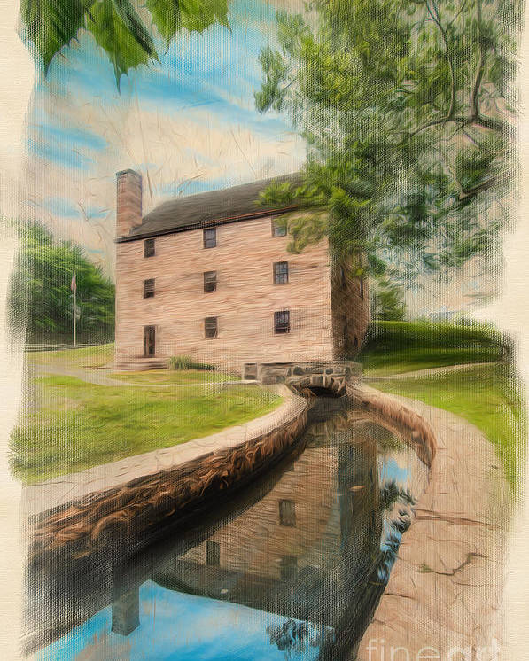 George Washington Poster featuring the digital art Mt. Vernon Gristmill Art by Jim Moore