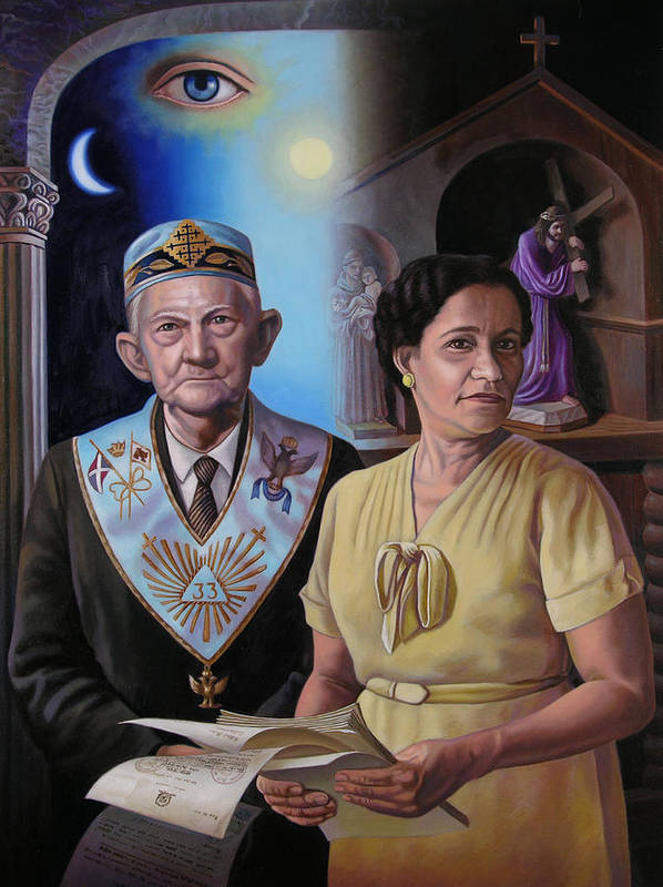 Grandparent Poster featuring the painting My Grandparents by Miguel Tio