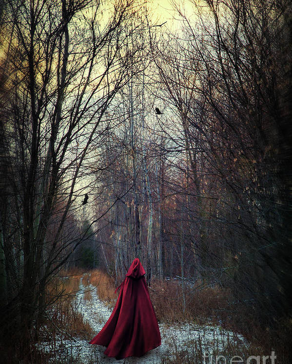 Atmosphere Poster featuring the photograph Mysterious Figure Wearing Red Cape Walking In Woods by Sandra Cunningham