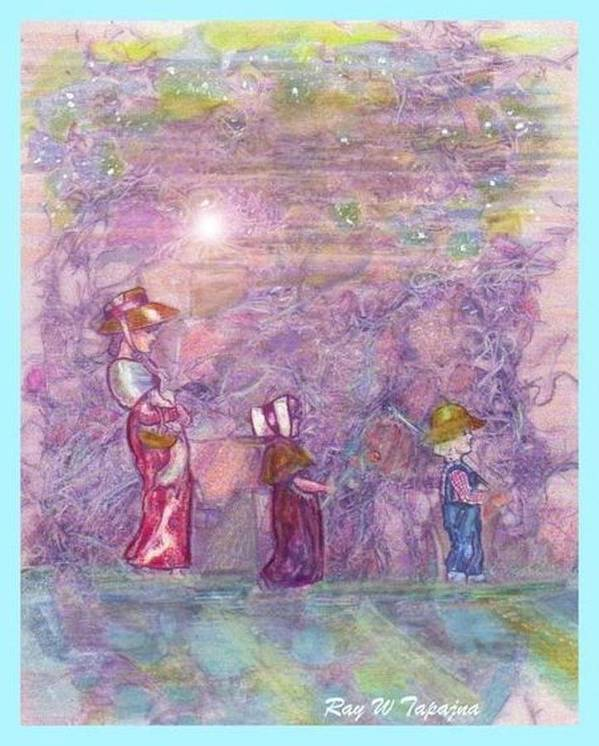 Mystical Landscape. Three People Strolling Poster featuring the mixed media Mystical Stroll by Ray Tapajna