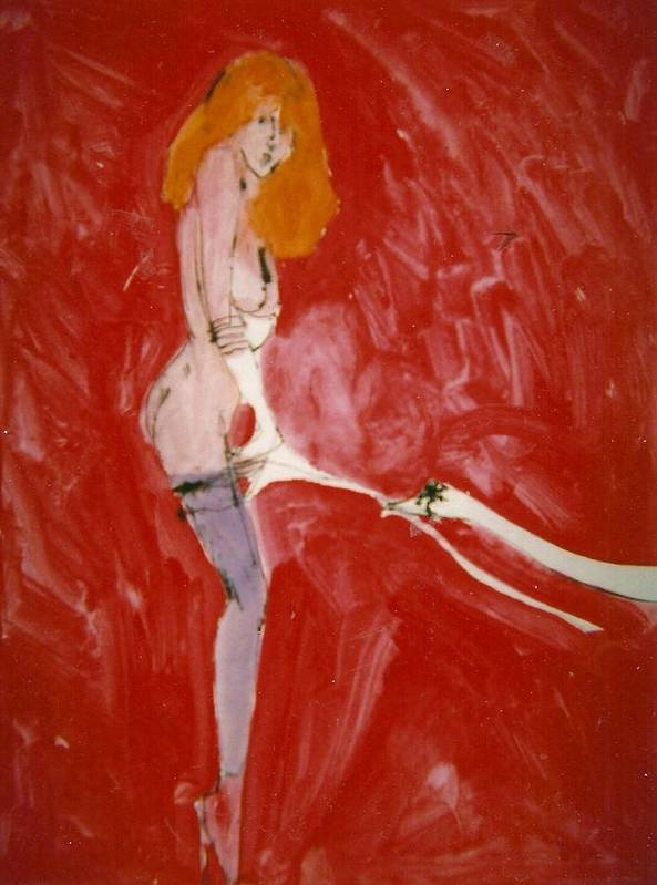 Myth Poster featuring the painting Myth Contemporary Leda And Swan 3 by Harry WEISBURD