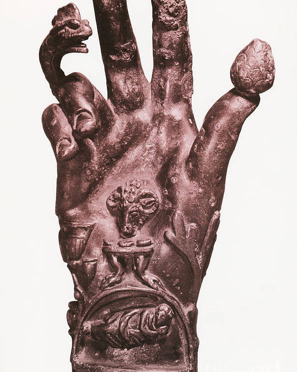 Religion Poster featuring the photograph Mythological Hand by Photo Researchers