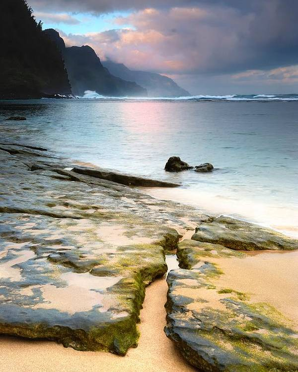 Ocean Poster featuring the photograph Na Pali At Sunrise by Alan Hart