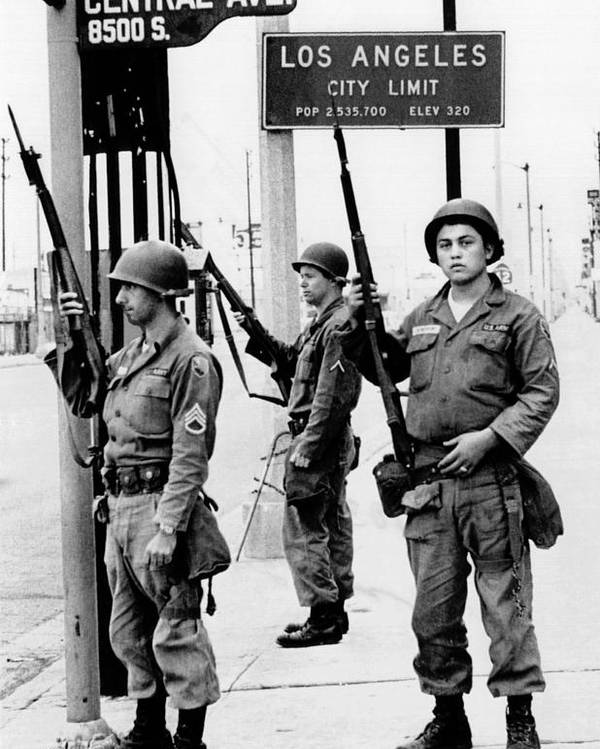 History Poster featuring the photograph National Guardsmen At A Los Angeles by Everett