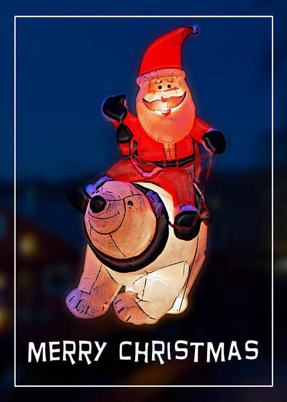 Christmas Poster featuring the photograph Nature Center Santa Card by John Haldane
