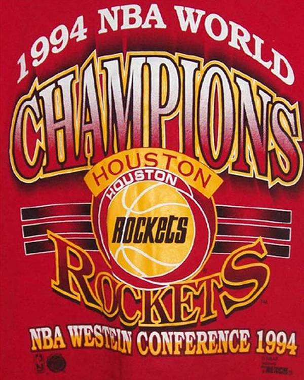 T-shirt Poster featuring the photograph Nba 1994 World Champions Rockets by De Beall