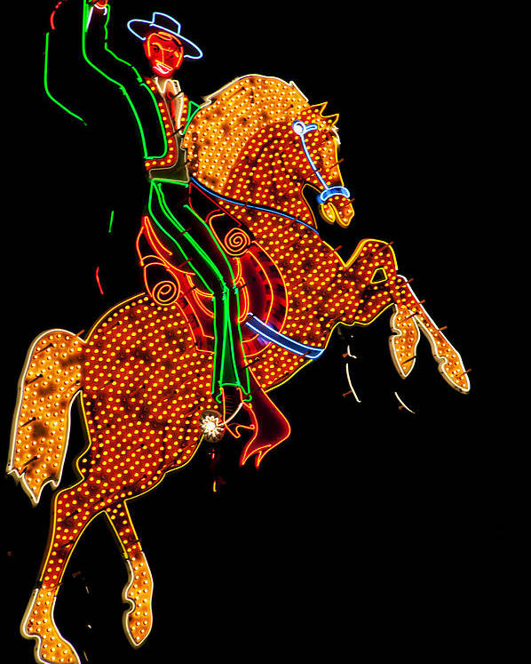 Cowboy Poster featuring the photograph Neon Cowboy Las Vegas by Garry Gay