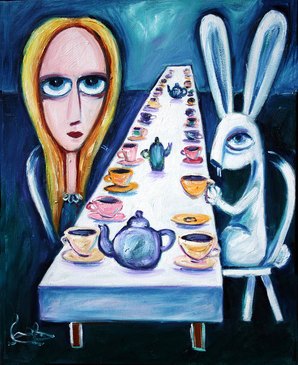Alice In Wonderland Alice Poster featuring the painting Never Ending Tea Party by Leanne Wilkes