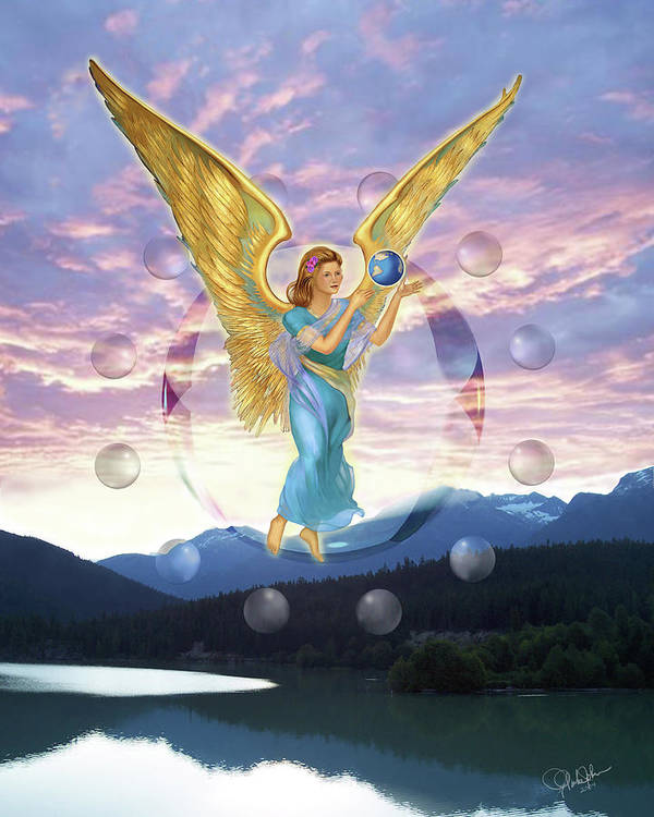 Angels Poster featuring the painting New Beginning by Gregory Clarke-Johnsen