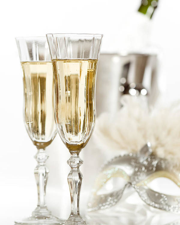 Champagne Poster featuring the photograph New Year Champagne by Amanda Elwell