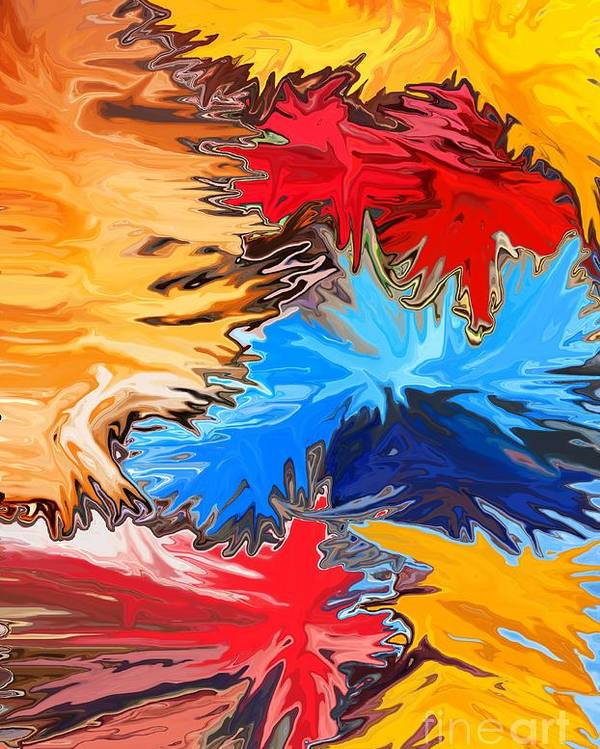 Abstract Poster featuring the mixed media New Years by Chris Butler