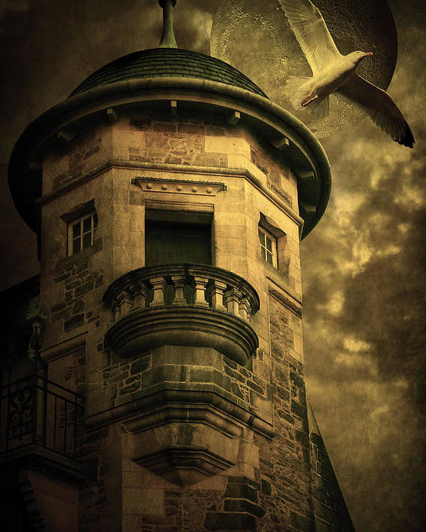 Abandoned Poster featuring the digital art Night Tower by Svetlana Sewell