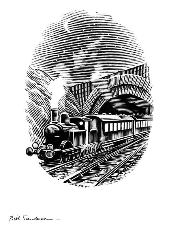 Train Poster featuring the photograph Night Train, Artwork by Bill Sanderson