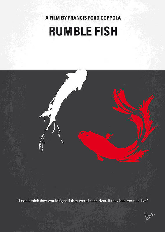 Rumble Poster featuring the digital art No073 My Rumble Fish Minimal Movie Poster by Chungkong Art
