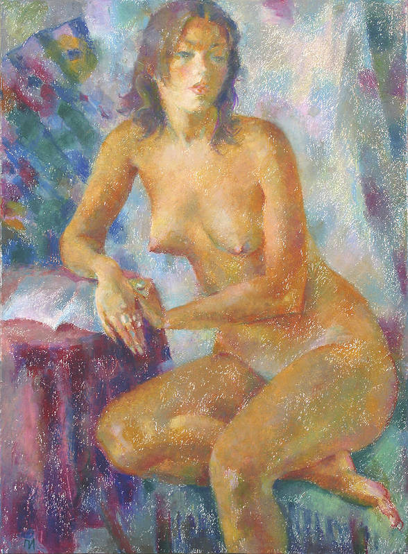 Nude Poster featuring the painting Nu 82 by Leonid Petrushin