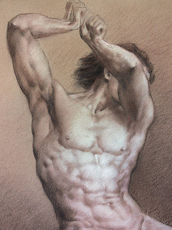 Man Poster featuring the drawing Nude 9 A by Valeriy Mavlo