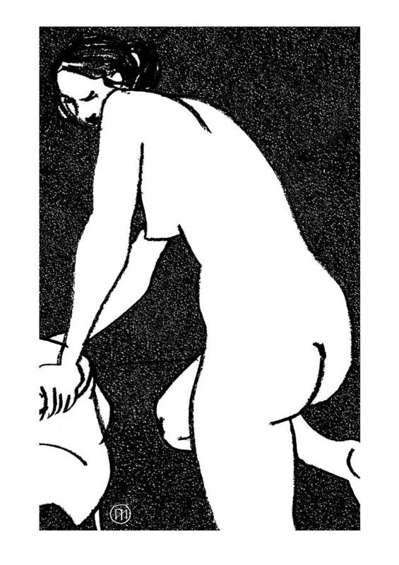 Nude Poster featuring the drawing Nude Sketch 15 by Leonid Petrushin