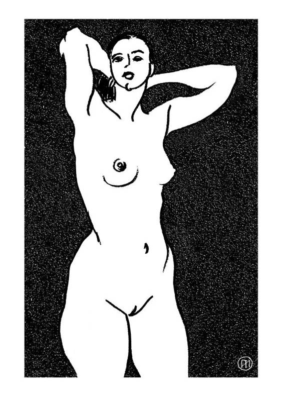 Nude Poster featuring the drawing Nude Sketch 19 by Leonid Petrushin