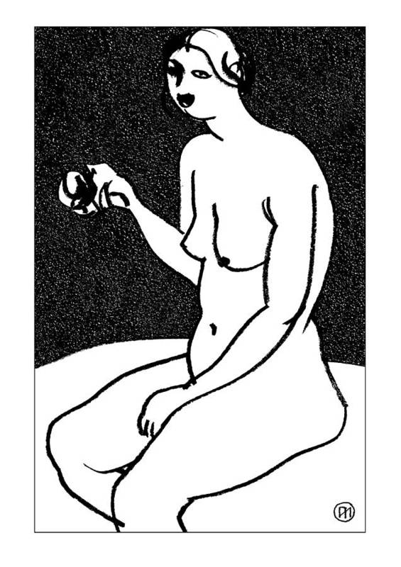 Nude Poster featuring the drawing Nude Sketch 36 by Leonid Petrushin