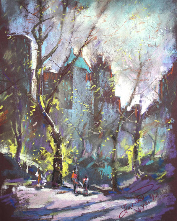 Ny City Poster featuring the pastel Nyc Central Park Controluce by Ylli Haruni