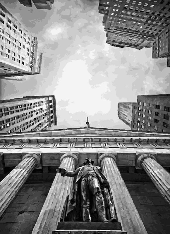 New York Financial Distrist Poster featuring the photograph Nyc Looking Up Bw16 by Scott Kelley