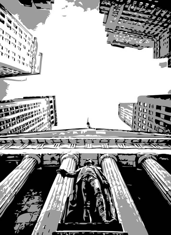 New York Financial Distrist Poster featuring the photograph Nyc Looking Up Bw3 by Scott Kelley