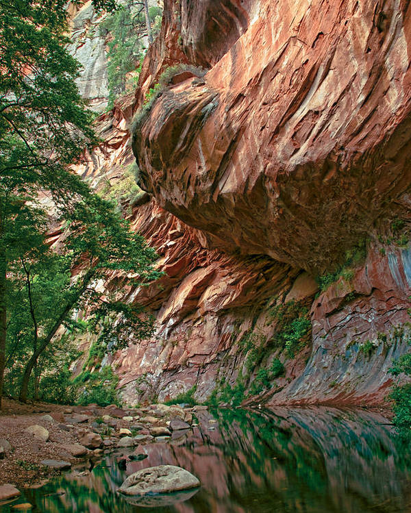 Red Poster featuring the photograph Oak Creek Canyon Walls by Dave Dilli
