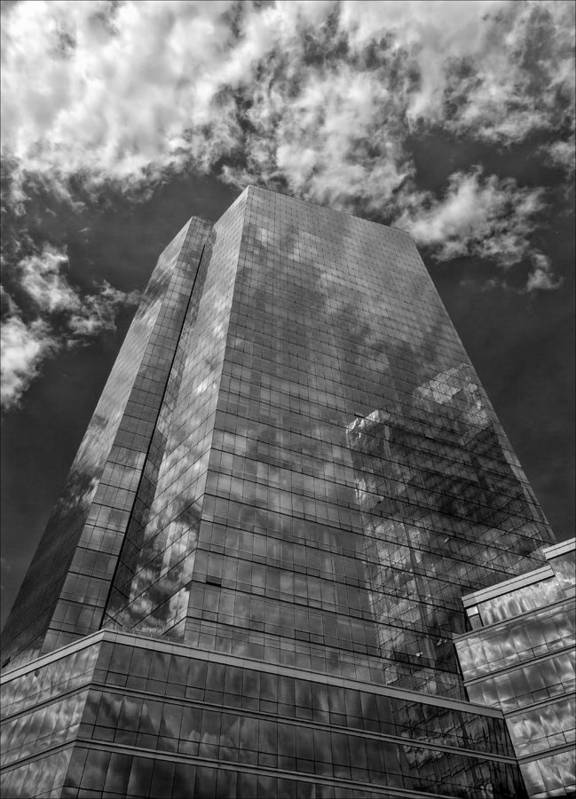 Office Buildings And Clouds White Plains Ny Poster featuring the photograph Office Buildings And Clouds White Plains Ny 3 by Robert Ullmann