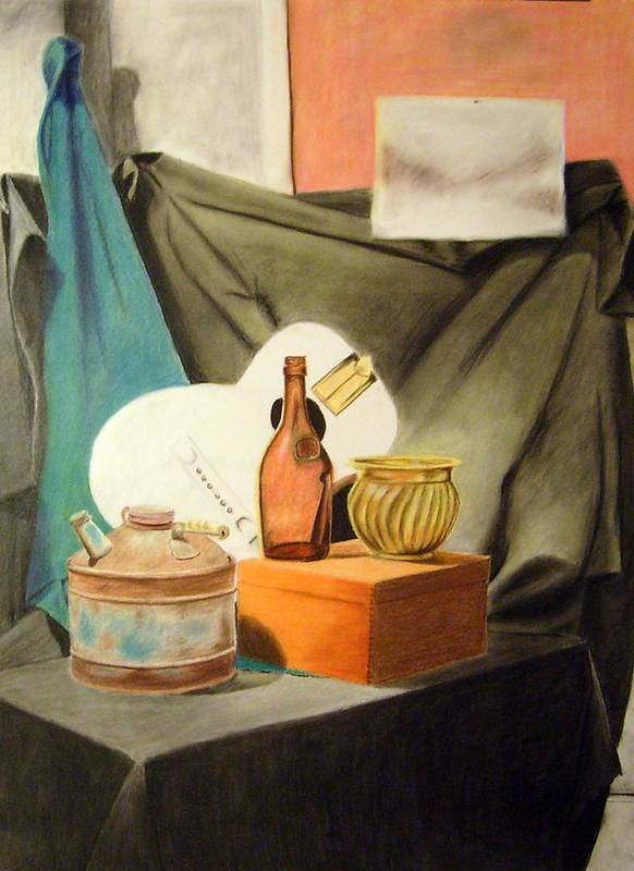 Still-life Poster featuring the drawing Oil Can And Other Objects by Howard Bosler