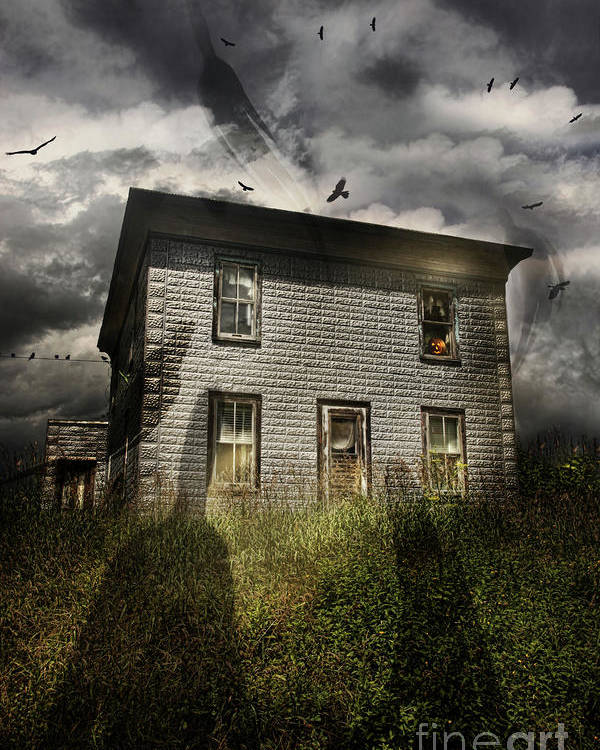 Aged Poster featuring the photograph Old Ababdoned House With Flying Ghosts by Sandra Cunningham