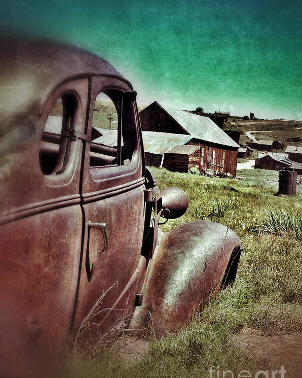 Car Poster featuring the photograph Old Car And Ghost Town by Jill Battaglia