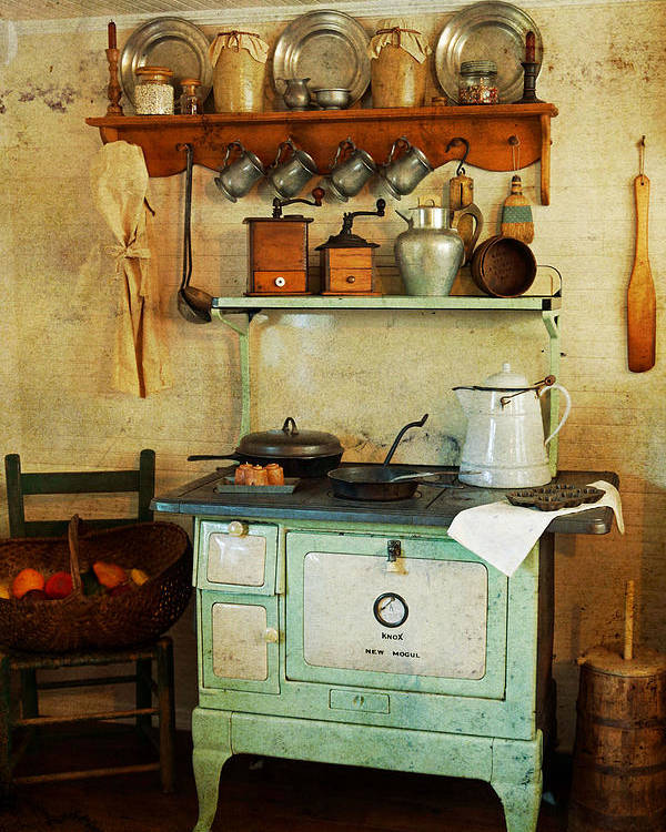 Antiques Poster featuring the photograph Old Cast Iron Cook Stove by Carmen Del Valle