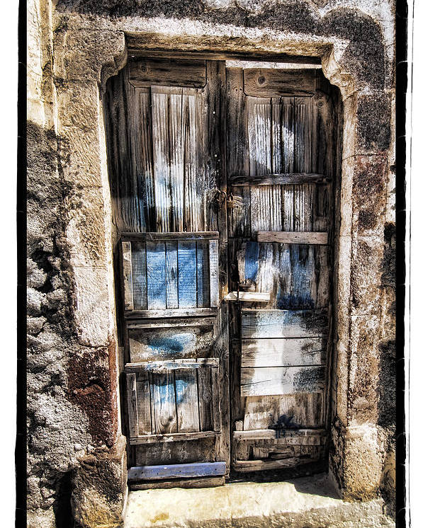 Art Poster featuring the pyrography Old Door by Mauro Celotti