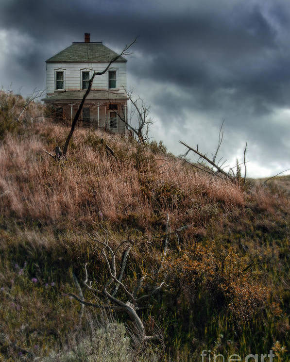 Abandoned Poster featuring the photograph Old Farmhouse With Stormy Sky by Jill Battaglia