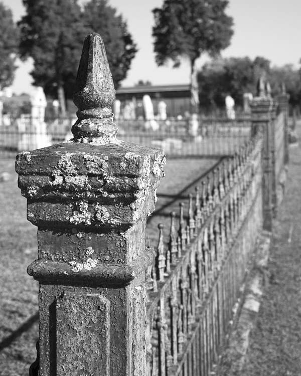 Graveyard Poster featuring the photograph Old Graveyard Fence In Black And White by Kathy Clark