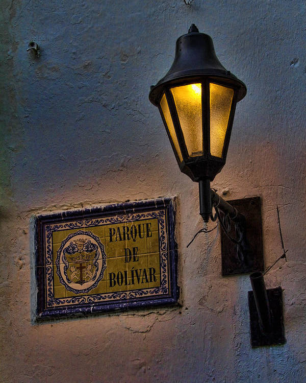 Cartagena Poster featuring the photograph Old Lamp On A Colonial Building In Old Cartagena Colombia by David Smith