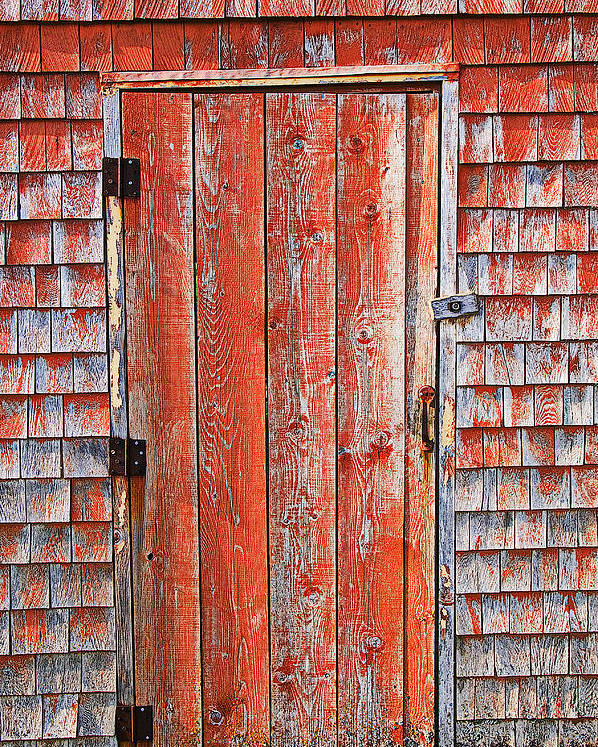 Peggy's Cove Poster featuring the photograph Old Orange Door by Garry Gay