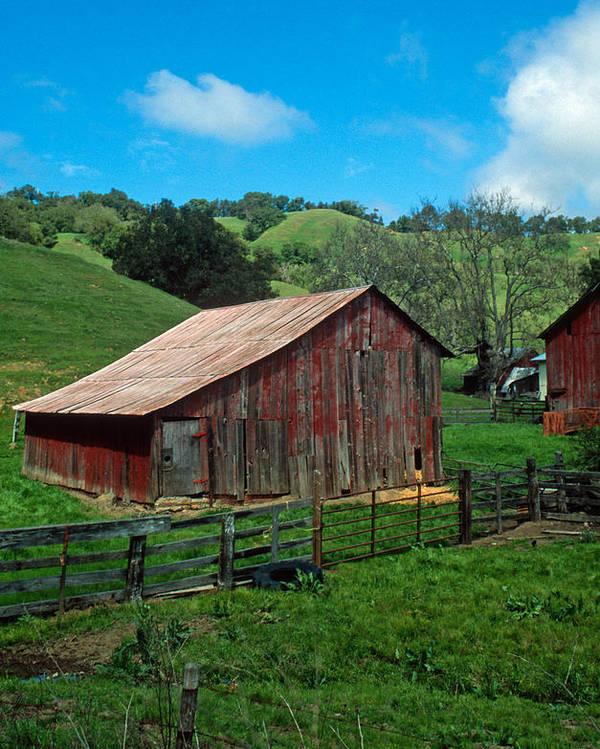 Landscapes Poster featuring the photograph Old Red Barn by Kathy Yates