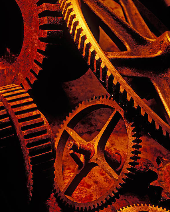 Machinery Poster featuring the photograph Old Rusty Gears by Garry Gay