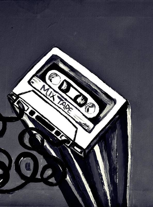 Mix Tape Poster featuring the painting Old School by Cat Jackson